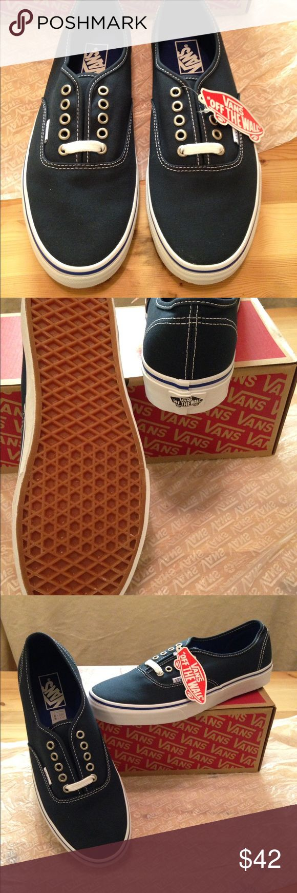 Navy Blue Vans M 9.5 W 11 New with tags never been worn! Blue Vans. Women size 11 Men size 9.5. Super cute with skinny jeans 👖❤️️😘 Vans Shoes Sneakers