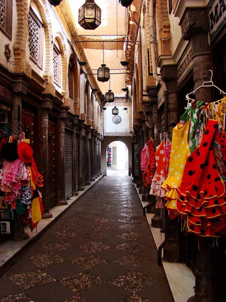 Flamenco dresses for sale in Granada, Spain.