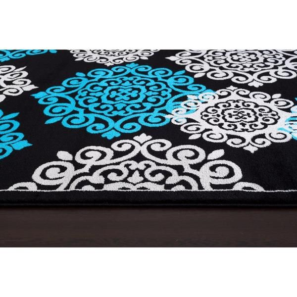 Persian Rugs 776 Floral Collection Turquoise/Black Polypropylene Rug (8' x 10')