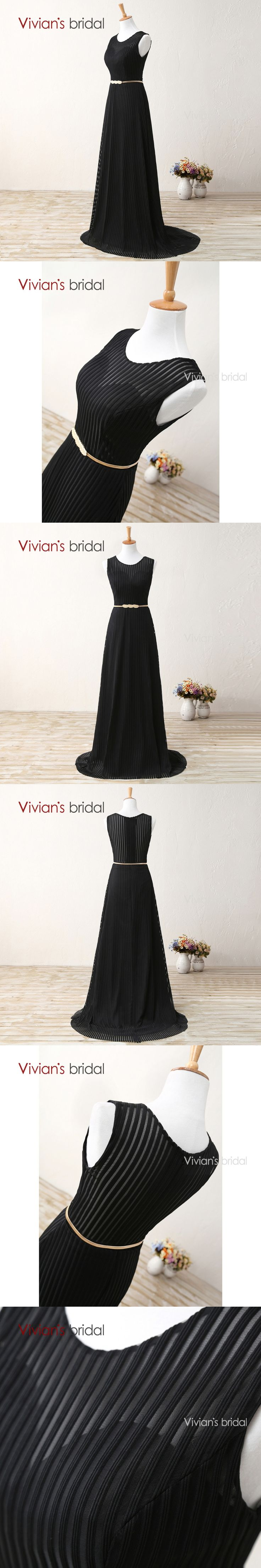 Vivian's Bridal Black Evening Gown See Through Back Striped Lace Formal Long Evening Dresses A Line E2203