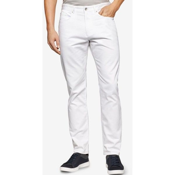 Calvin Klein Men's Slim-Fit Slub Dobby Pants ($22) ❤ liked on Polyvore featuring men's fashion, men's clothing, men's pants, men's casual pants, white, mens slim fit pants, calvin klein mens pants, mens white pants and mens slim pants
