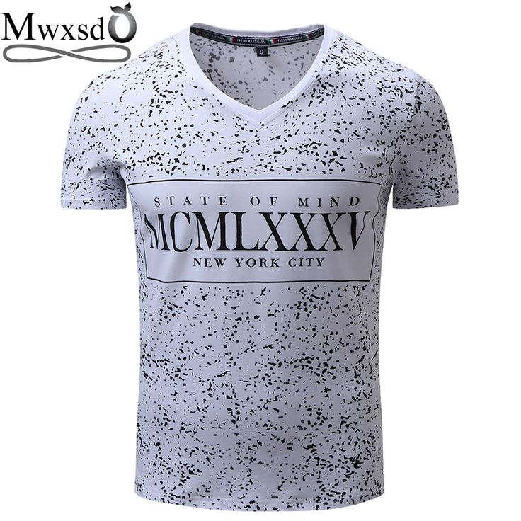 Mwxsd brand Men's printed Floral T Shirt men V neck white T-shirts male summer top social tees European size M-XXL #Affiliate