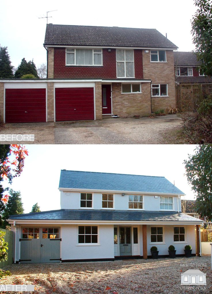 Back To Front Exterior Design   1960u0027s Before And After Remodelling Scheme  In Surrey