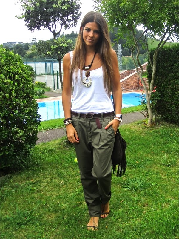 white tank + green baggy cargo pants...so comfy for a ...