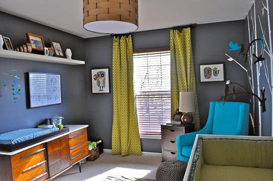 toddler room: Toddlers Rooms, Color Schemes, Boys Nurseries, Boys Rooms, Wall Color, Grey Wall, Baby Boys, Baby Rooms, Kids Rooms
