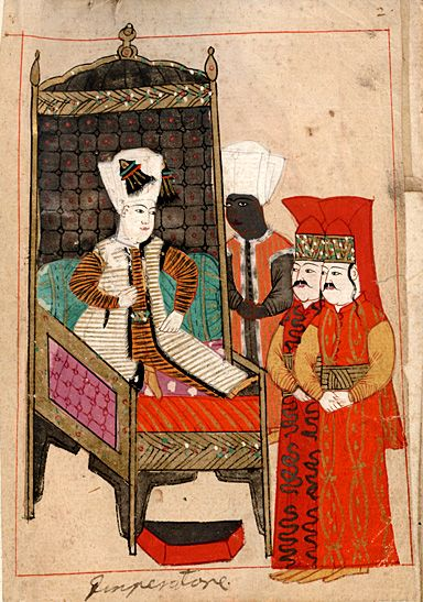 "Rålamb Costume Book 2 ""The Emperor"" ""Imperatore"" - Padishah The 18-year-old Sultan Mehmed IV on his throne attended by a black eunuch and two pages. On his turban he carries two turned-down heron's aigrettes, sorguç. Rålamb describes him in precisely this attitude and with little flattering words."