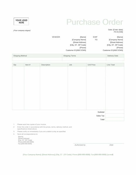 Include your company logo when you send a purchase order using this template. It features a green design with customizable order and company information. Find matching templates in the Green design set by clicking the See Also link above.