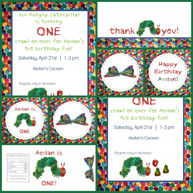 Love the custom very hungry caterpillar designs! Invite, thank you card, stickers/cupcake toppers, water bottle wrapper