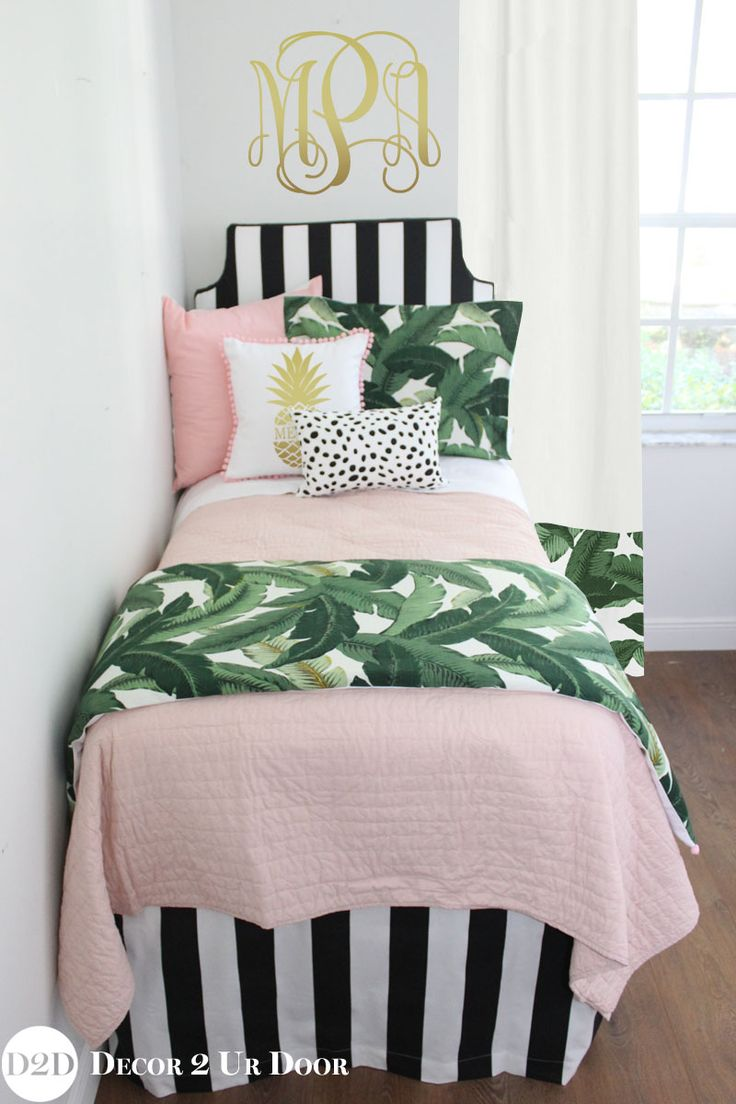 Palm tree bedding sets for dorm rooms. Black and white palm tree bedroom. Designer, preppy dorm room bedding, Trendy palm tree bedroom. Tropical palm tree dorm room. Palm tree themed dorm room. Designer headboard, custom pillows, exclusive bed scarf, window panels, wall art, bed skirts, twin/queen/king duvet and custom monogramming!! Perfect for college, apartment, or teen bedding!!