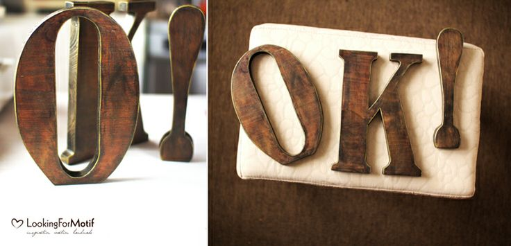 Wooden Letters O K ! by LFM ( 22,5 cm x 17 mm )