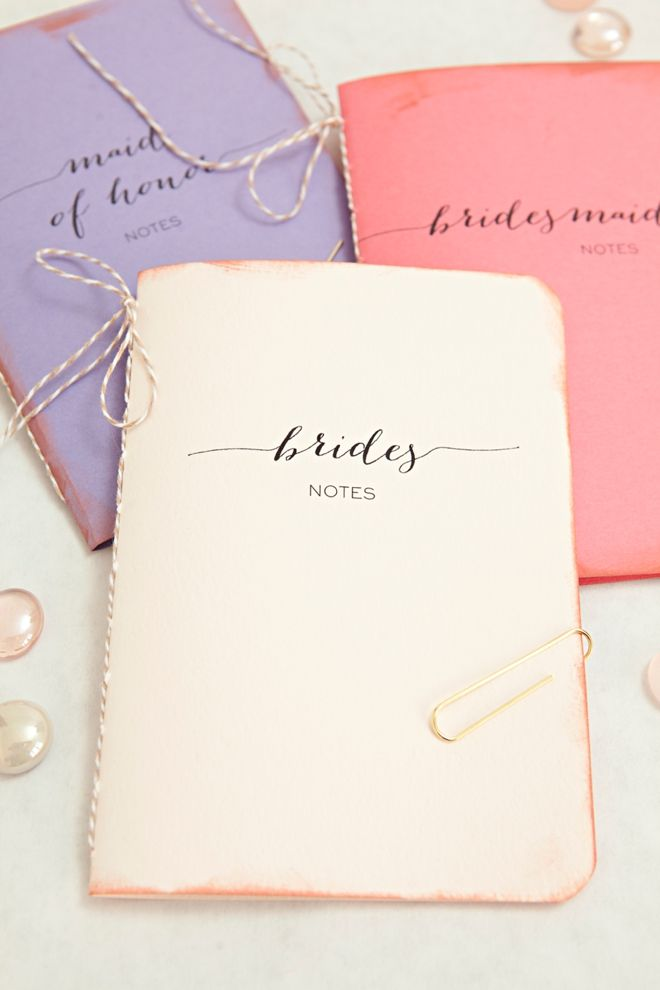 learn how to make these darling wedding notebooks