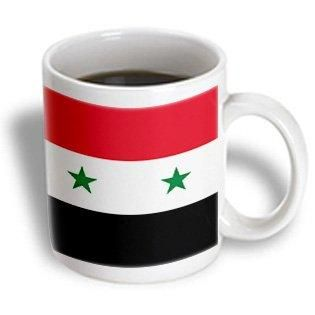 3dRose Flag of Syria - Syrian red white black with two green stars Middle East Arab country Arabic world, Ceramic Mug, 11-ounce