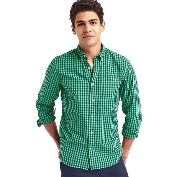Gap Men True Wash Gingham Standard Fit Shirt (46 AUD) ❤ liked on Polyvore featuring men's fashion, men's clothing, men's shirts, men's casual shirts, lush green, tall, mens gingham check shirt, mens button down collar shirts, mens green shirt and mens button front shirts