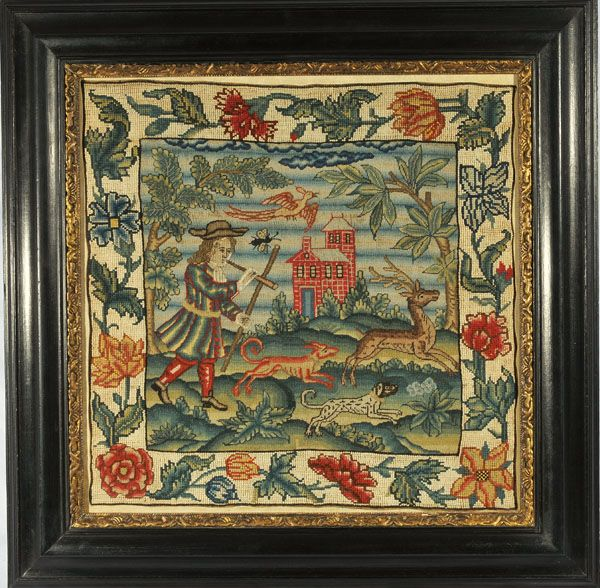 """HUNT SCENE English c.1720 This beautifully executed canvas-work hunt scene retains very vivid colors. The surrounding needlework is an appropriate but a later addition. Silk on canvas; 17"""" x 17"""" sight, 24' X 24"""" framed."""