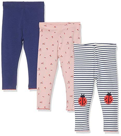 0e6fc7bd838cd Mothercare Girl's Pink, Striped and Navy Leggings - 3 Pack Multicolour  (Multi 1), 3-4 Years (Size:104CM)