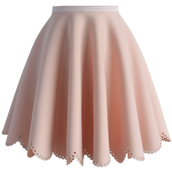 Chicwish Petal Airy Skater Skirt in Pink ($47) ❤ liked on Polyvore featuring skirts, bottoms, pink, saias, petal skirt, brown skater skirt, flared skirt, pink skater skirt and circle skirt