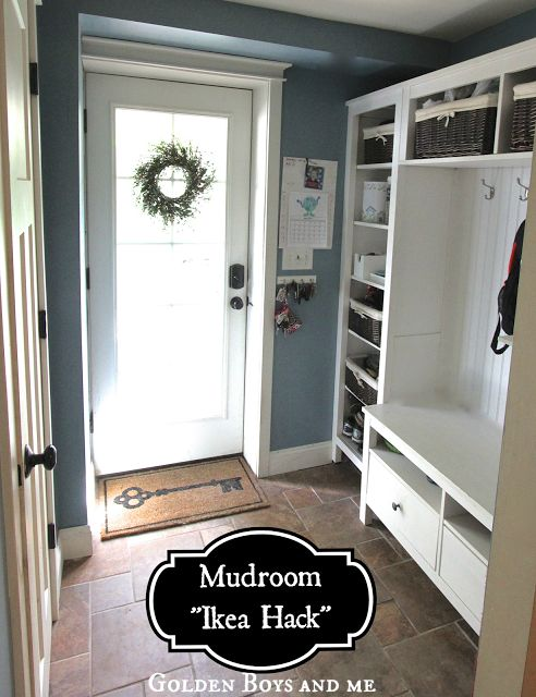 Golden Boys and Me: Mudroom {repurposed Ikea Hemnes bookshelves} I love Ikea hacks! No way this could be done for the same price if you had to build it all from scratch