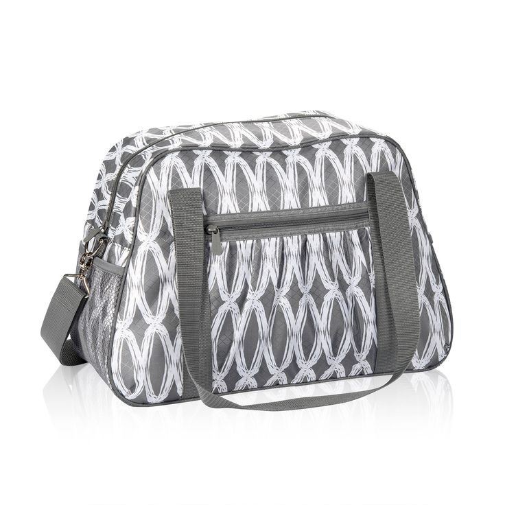 "All-In Tote in Charcoal Links for $25 - You'll be ""all-in"" with this fashionable AND functional bag! Just throw on and go with the adjustable strap! The All-In Tote features a hidden zipper compartment that opens so it can easily slide over baggage handles for easy mobility. Personalization is available on one side.  Via @thirtyonegifts"