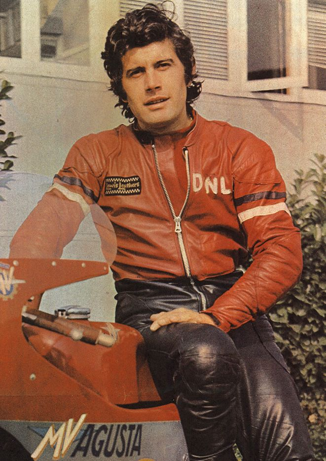 Giacomo Agostini. I had this very shot as a poster from Motorcycle News on my bedroom wall asa kid. Amazed I turned out to be straight - he's a handsome man that there Ago!