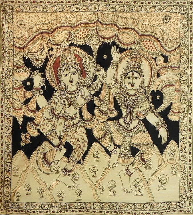 Dancing Lord Shiva with wife Parvati - Kalamkari Painting