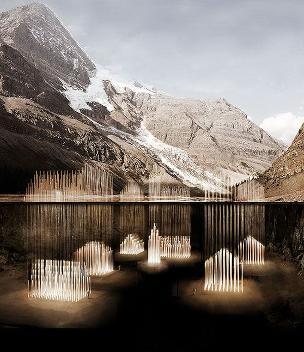 A  memorial design:  a glowing underground village as a tribute to buried communities that have perished in landslides in Swiss valleys.   Designed by two architecture students from ETH Zurich, Bo Li and Ge Men.