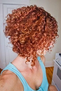 Stacked spiral curls (My favorite haircut!) – Redhead, Short hair styles, Medium hair styles, Female, Curly hair, Adult hair, Spiral curls hairstyle picture