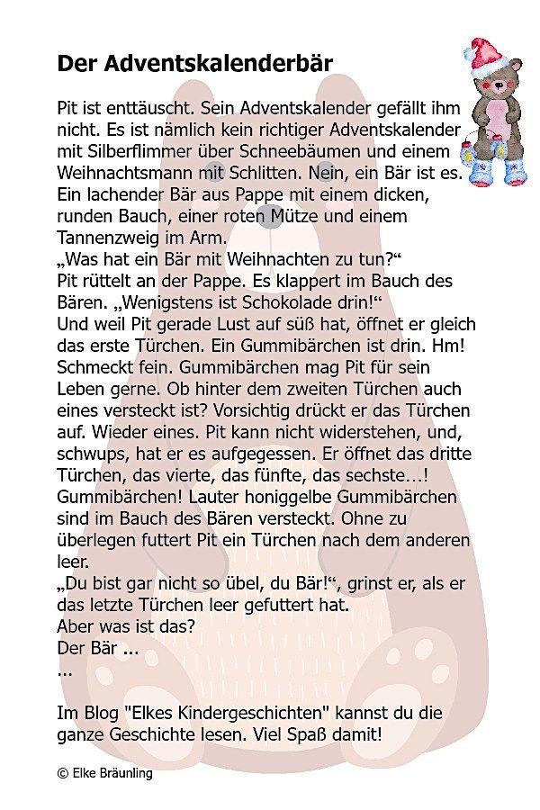 Der Adventskalenderbar Elkes Kindergeschichten Adventkalender Adventsgeschichten Fur Kinder Geschichten Fur Kinder