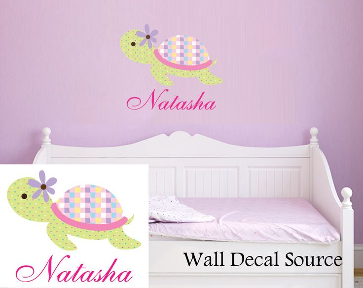 Turtle Wall Decal With Name - Name Wall Decal - Monogram Wall Decal - Vinyl Sticker by WallDecalSource on Etsy https://www.etsy.com/listing/114829440/turtle-wall-decal-with-name-name-wall
