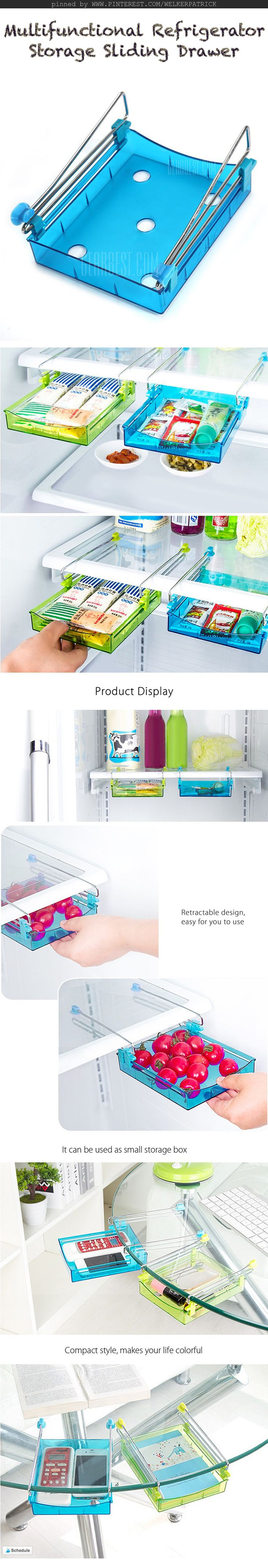 This multifunctional refrigerator storage box can meet your different requirements • More space saving, it can be put under the table and hold some gadgets • It can keep your home and refrigerator neat and clean • Retractable design, easy for you to use  • Stainless steel rack, resistant to corrosion • Drain design, antimicrobial and easy to clean • Available color: green and blue #organizer #fridge #office