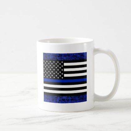Police Flag with Officers Coffee Mug - office decor custom cyo diy creative