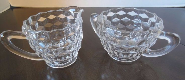 Vintage Diamond Pattern Clear Cut Glass Creamer & Sugar Set