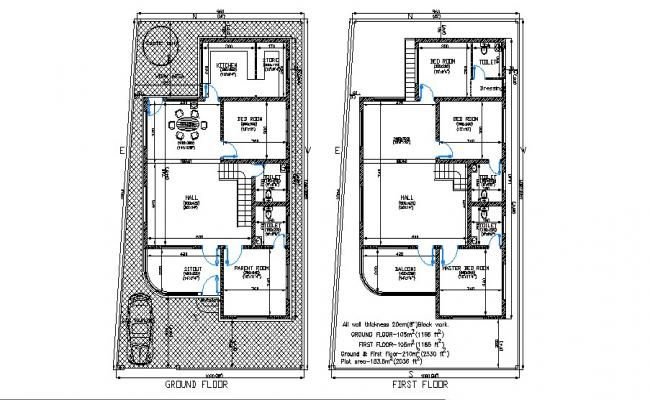 Floor Plan Of Residential House 32 X 60 With Detail Dimension In Autocad Residential House Floor Plans Open House Plans
