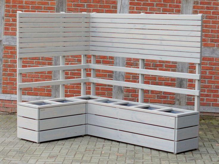 Pflanzkasten Ecke Holz mit Sichtschutz / Rankgitter nach