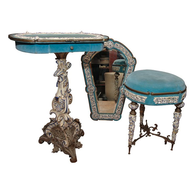 2 piece italian ladies dressing/make up suite   From a unique collection of antique and modern stools at https://www.1stdibs.com/furniture/seating/stools/