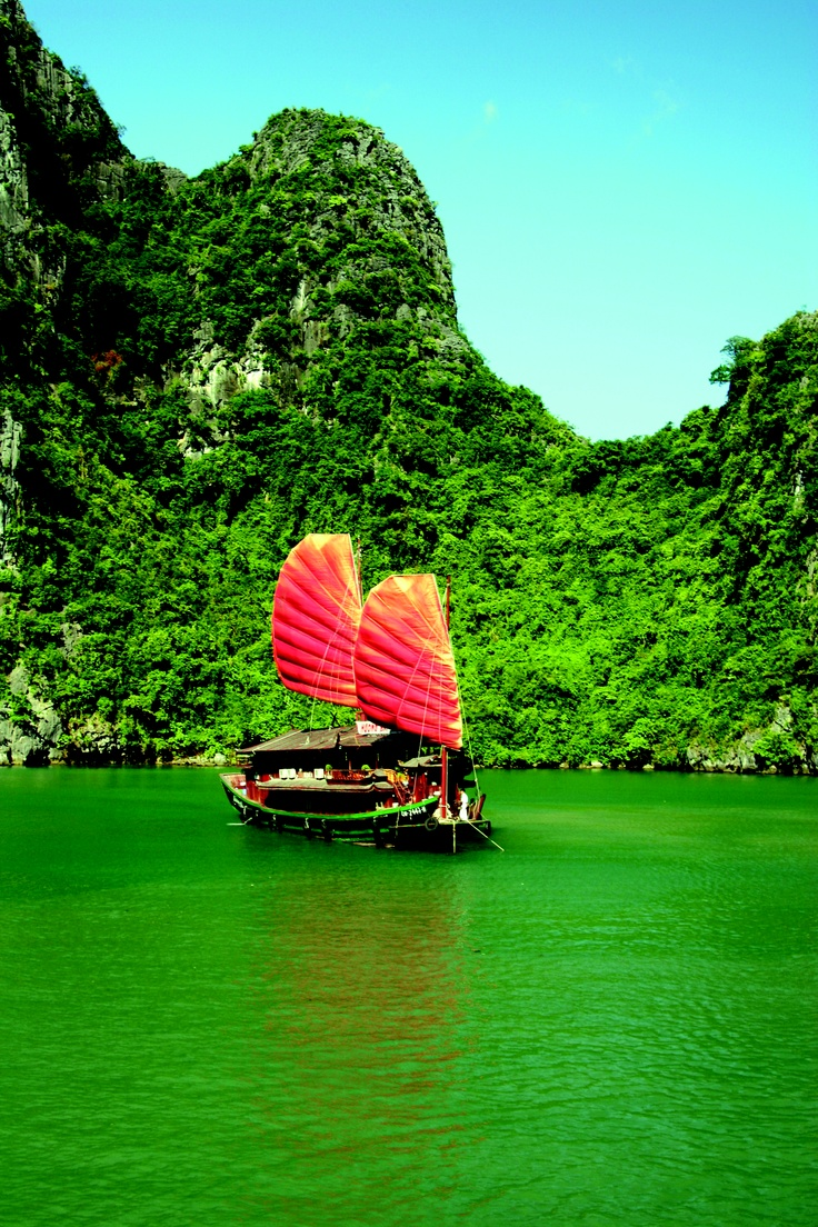 Junk #cruiser in #Halong Bay, #Vietnam. Photo by Sally Johnson  http://www.exoticvoyages.com/vietnam-cruises
