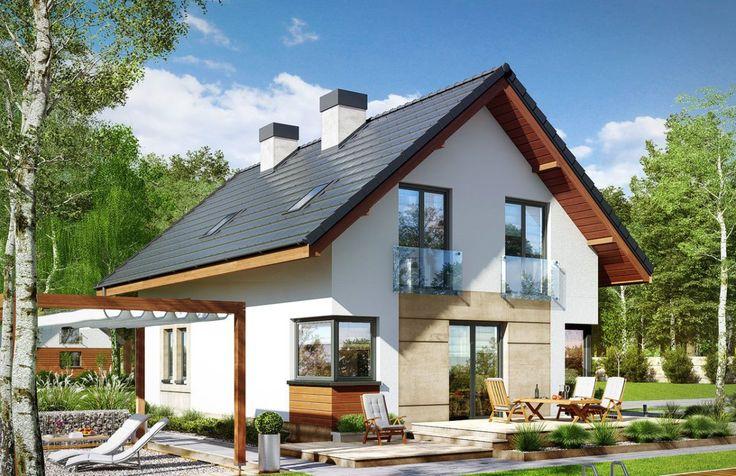 Проект жилого дома с партером, мансардой, гаражом для одного автомобиля и летней террасой -100500