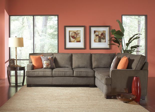 2 pc Alvah Collection olive brown herringbone microfiber fabric upholstered sectional sofa with pocket coil spring seating