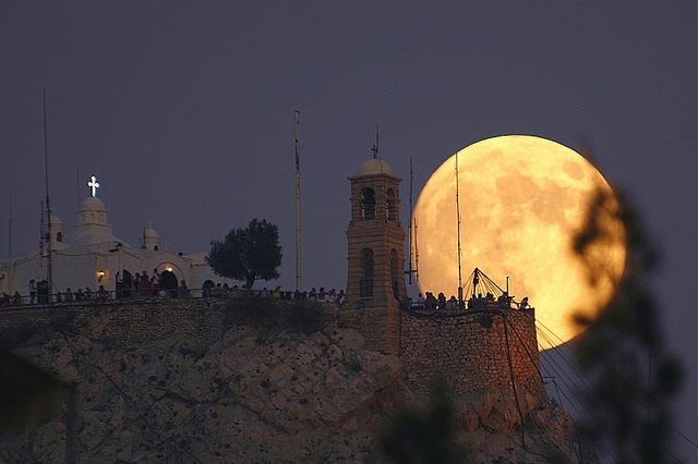 August full moon rising over Lycabettus Hill in central Athens. (Walking Athens, Route 11 - Lycabettus)