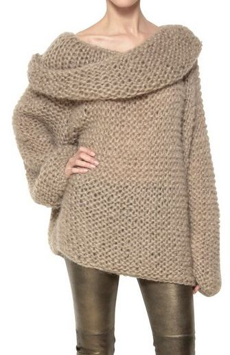 Slouchy knit sweater- This looks so comfy to snuggle up with a book on a cold winter day in front of the fire. :)