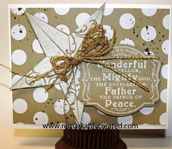 Love the neutral color scheme and fun use of Burlap Ribbon on this card from Janet Wakeland.Christmas Cards, Cards Ideas, Stamps Christmas, Cards Christmas, Holiday Cards, Stampin Up, Cards Crafts, Burlap Ribbon, Christmas Stars