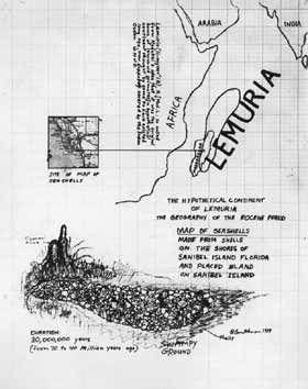 Robert Smithson, The Hypothetical Continent  of Lemuria, 1969, encre, crayon, carte