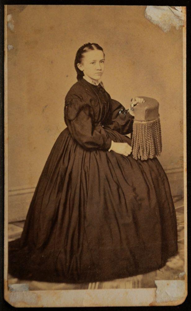 CDV Photo Woman Hoop Skirt Seated 2C Civil War Stamp Tyler Easton PA 1860s