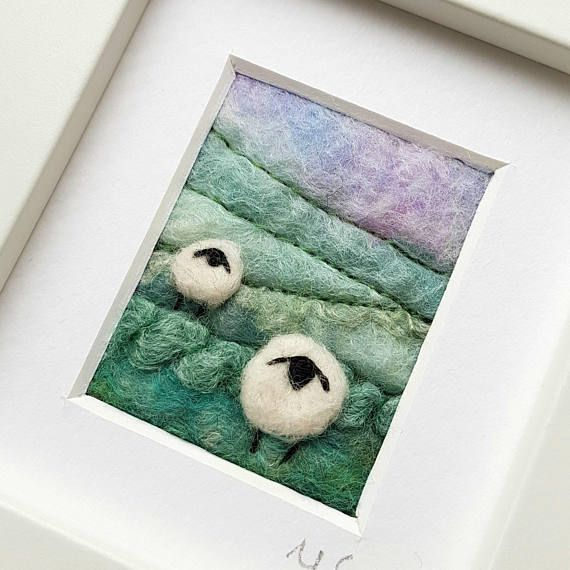 Original textile art picture by in felting and embroidery by Tilly Tea Dance textile artist Maxine Smith https://www.etsy.com/uk/listing/500241326/sheep-landscape-original-felted-and