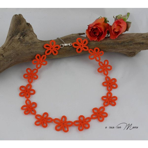 Collana arancione pizzo chiacchierino, Orange lace collar necklace,... ($22) ❤ liked on Polyvore featuring jewelry and necklaces