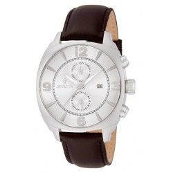 Stainless steel case with a brown leather strap. Fixed stainless steel bezel. Silver dial with luminous hands and index hour markers. Minute markers around an inner ring. Dial Type: Analog. Luminescent hands. Date display at the 3 o'clock position.