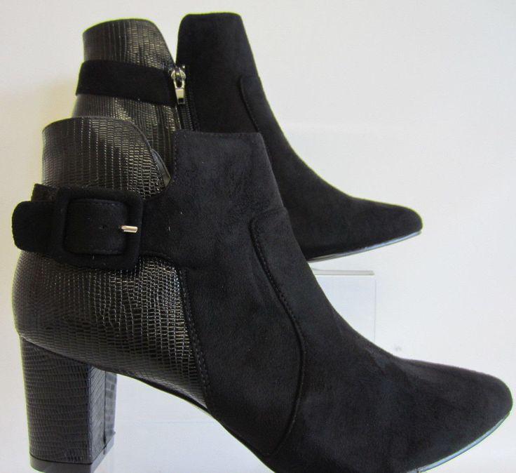 Anne Michelle F50551 Ladies Black Blocked Heel Ankle Boots Uk 3-8 (R11B)