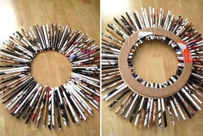 d.i.y.: recycled magazine wreath from HAUTE NATURE, could be made on a smaller scale for gift tags, or larger for a framed mirror effect!