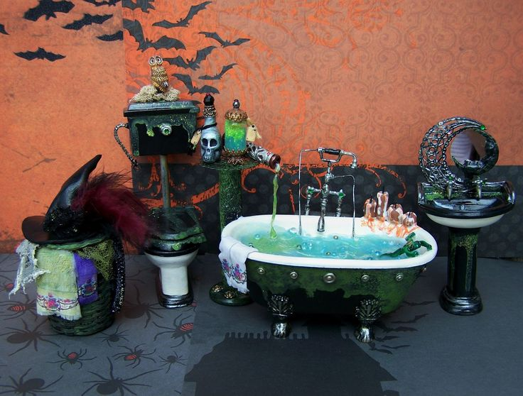 how to make  miniture doll house halloween items   19th Day Miniatures Works in Progress: Dollhouse Miniature Witch Bath ...