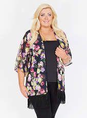 Gemma Collins Black Multicoloured Cyprus Kimono