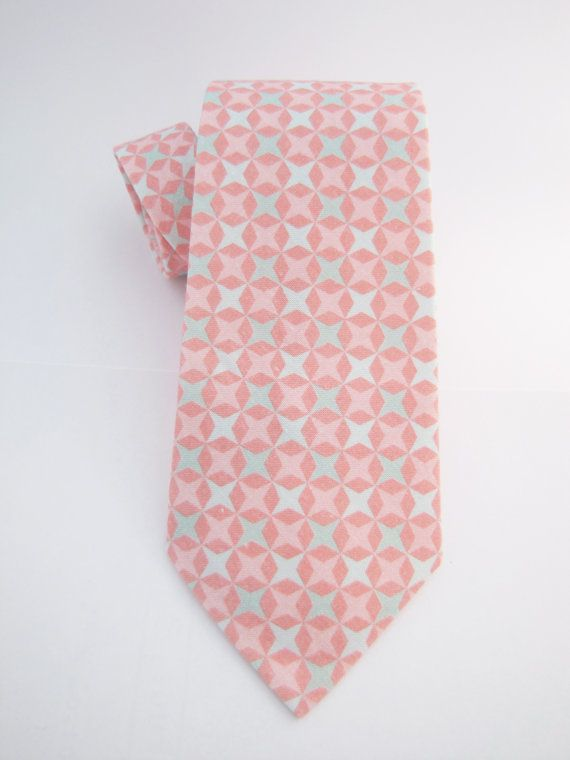 Men's Necktie  Coral & Mint Starlight by ChipmunkPoint on Etsy, $38.00